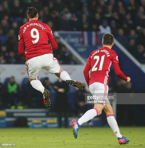 Zlatan Ibrahimovic of Manchester United celebrates scoring their second goal during the Premier League match between Leicester City and Manchester...