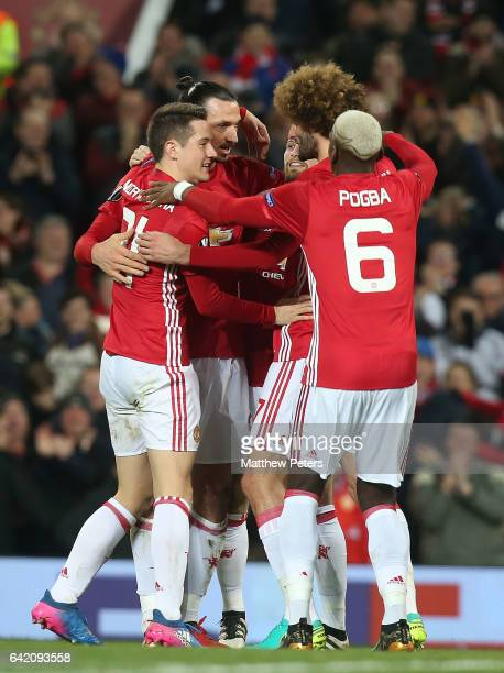 Zlatan Ibrahimovic of Manchester United celebrates scoring their first goal during the UEFA Europa League Round of 32 first leg match between...