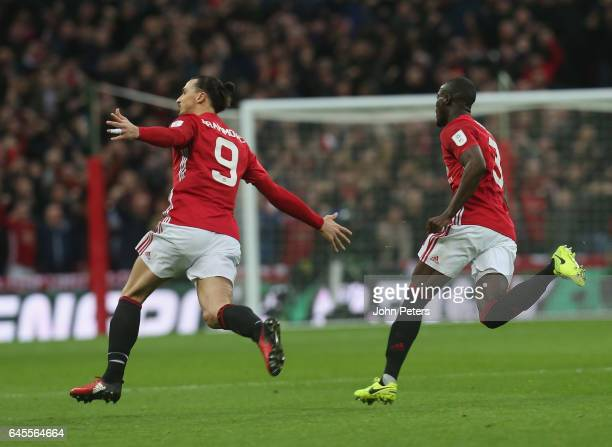 Zlatan Ibrahimovic of Manchester United celebrates scoring their first goal during the EFL Cup Final match between Manchester United and Southampton...