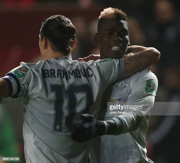 Zlatan Ibrahimovic of Manchester United celebrates scoring their first goal during the Carabao Cup QuarterFinal match between Bristol City and...