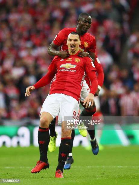 Zlatan Ibrahimovic of Manchester United celebrates with Eric Bailly as he scores their first goal during the EFL Cup Final match between Manchester...