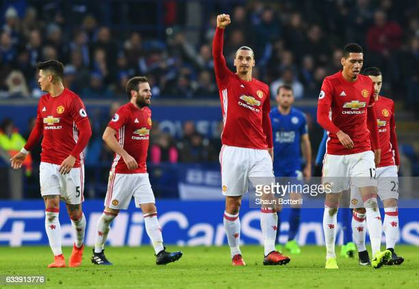 Zlatan Ibrahimovic of Manchester United celebrates with team mates as he scores their second goal during the Premier League match between Leicester...