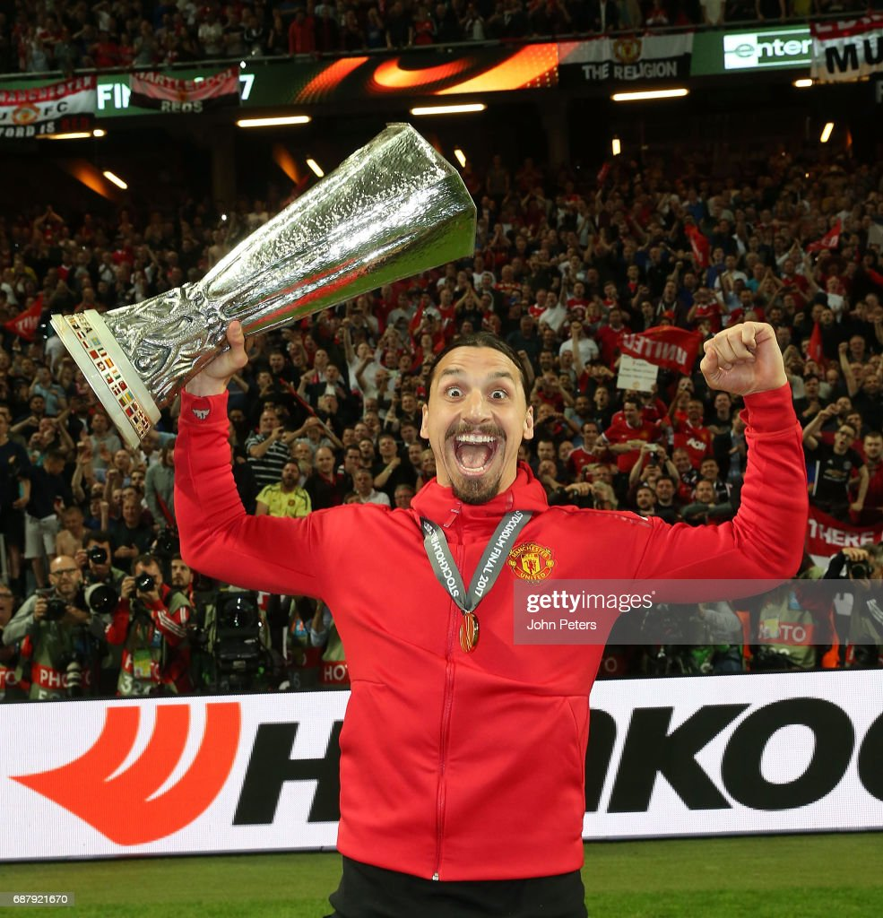 Zlatan Ibrahimovic of Manchester United celebrates with the Europa League trophy after the UEFA Europa League Final match between Manchester United and Ajax at Friends Arena on May 24, 2017 in Stockholm, Sweden.