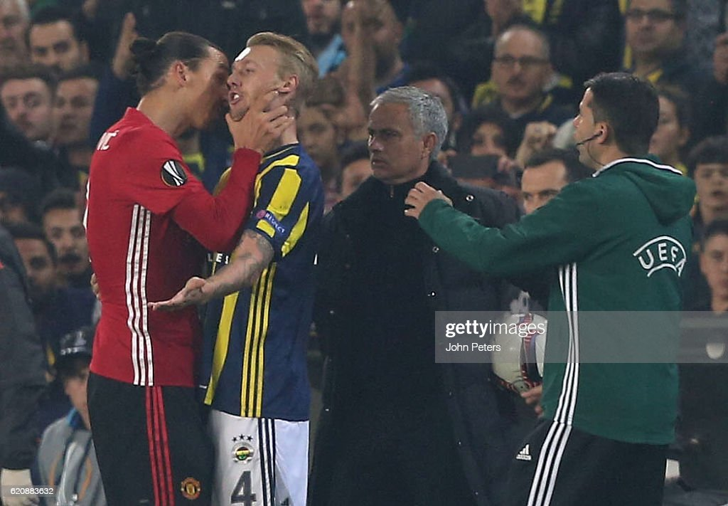 Zlatan Ibrahimovic of Manchester United clashes with Simon Kjaer of Fenerbahce during the UEFA Europa League match between Manchester United and Fenerbahce at sukru Saracoglu Stadium on November 3, 2016 in Istanbul, Turkey.