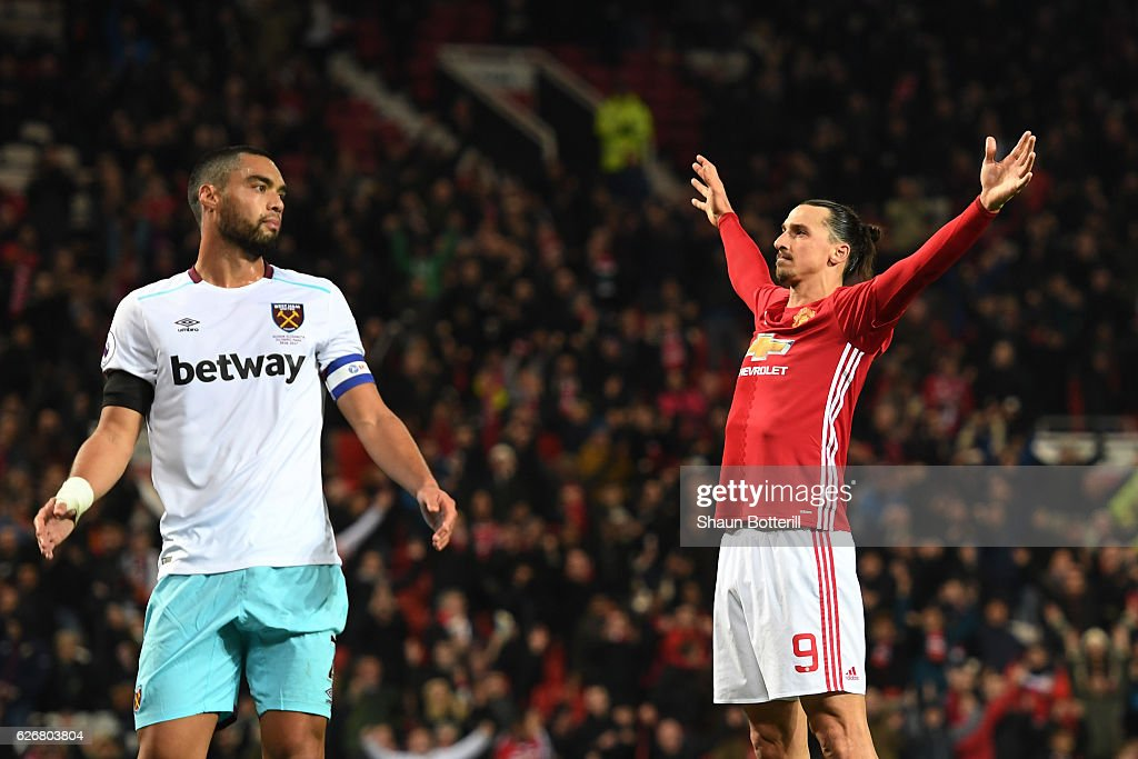Zlatan Ibrahimovic of Manchester United clebrates after scoring his team's fourth goal of the game during the EFL Cup quarter final match between Manchester United and West Ham United at Old Trafford on November 30, 2016 in Manchester, England.