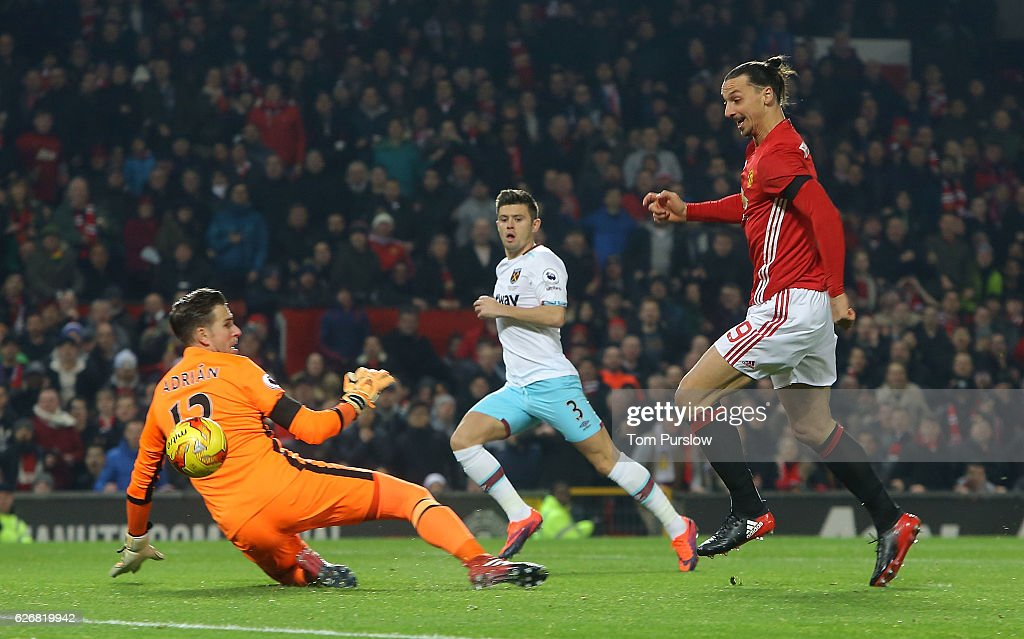 Zlatan Ibrahimovic of Manchester United cscores their fourth goal during the EFL Cup Quarter-Final match between Manchester United and West Ham United at Old Trafford on November 30, 2016 in Manchester, England.