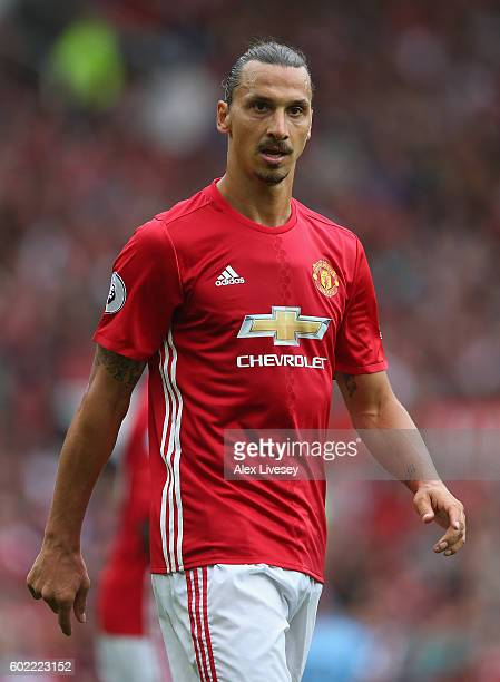 Zlatan Ibrahimovic of Manchester United during the Premier League match between Manchester United and Manchester City at Old Trafford on September 10...