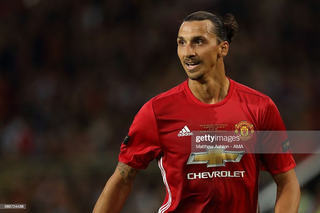 Zlatan Ibrahimovic of Manchester United during the Wayne Rooney Testimonial match between Manchester United and Everton at Old Trafford on August 3, 2016 in Manchester, England.