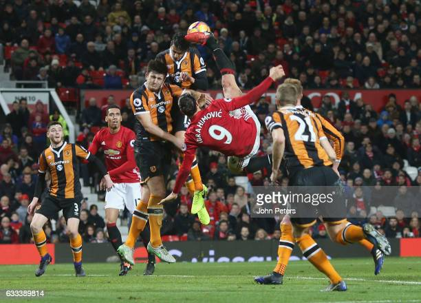 Zlatan Ibrahimovic of Manchester United has an acrobatic shot on goal during the Premier League match between Manchester United and Hull City at Old...