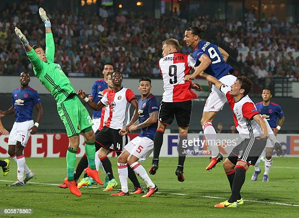 Zlatan Ibrahimovic of Manchester United has an attempt on goal during the UEFA Europa League Group A match between Feyenoord and Manchester United at...