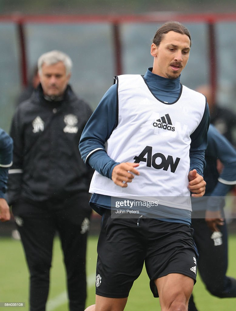 Zlatan Ibrahimovic of Manchester United in action during a first team training session at Aon Training Complex on July 28, 2016 in Manchester, England.