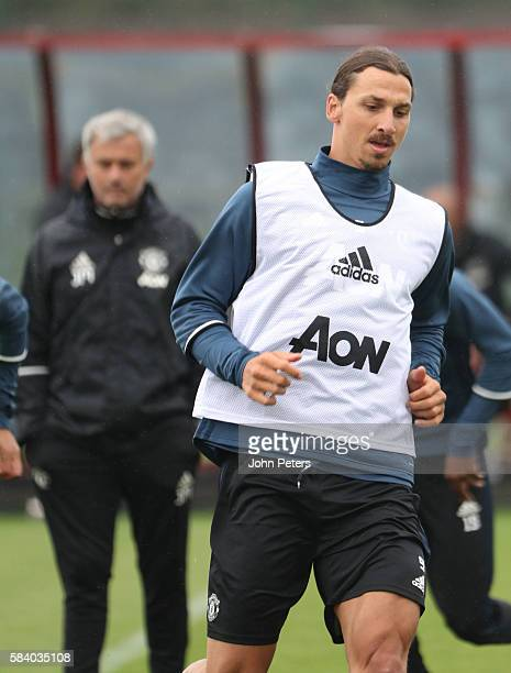 Zlatan Ibrahimovic of Manchester United in action during a first team training session at Aon Training Complex on July 28 2016 in Manchester England