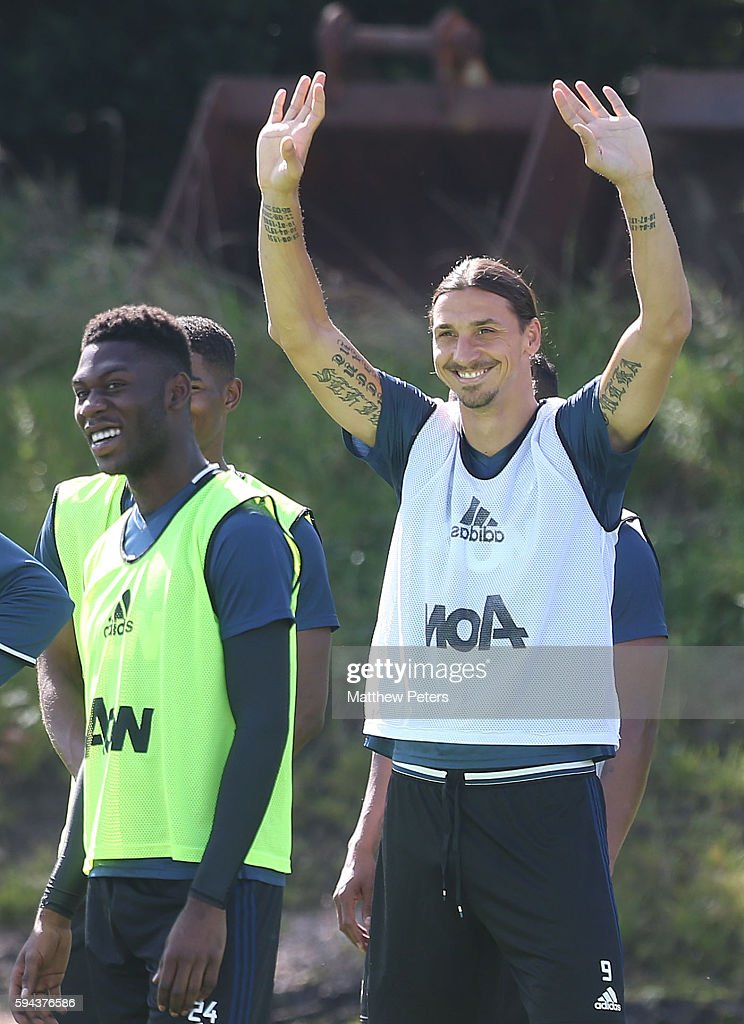Zlatan Ibrahimovic of Manchester United in action during a first team training session at Aon Training Complex on August 23, 2016 in Manchester, England.