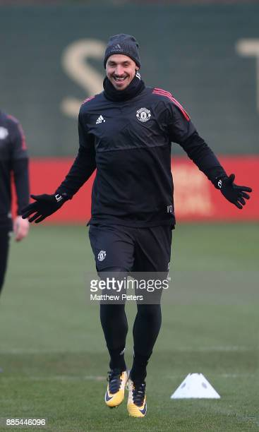 Zlatan Ibrahimovic of Manchester United in action during a first team training session at Aon Training Complex on December 4 2017 in Manchester...