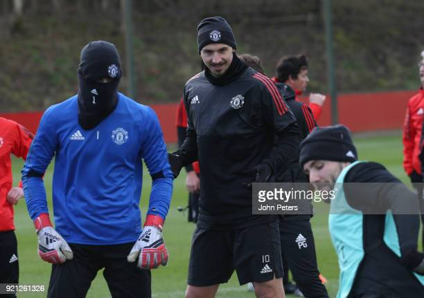 Zlatan Ibrahimovic of Manchester United in action during a first team training session at Aon Training Complex on February 20 2018 in Manchester...