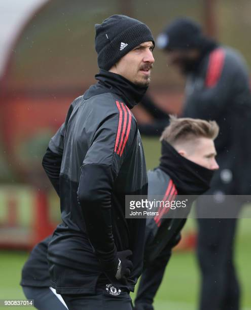 Zlatan Ibrahimovic of Manchester United in action during a first team training session at Aon Training Complex on March 12 2018 in Manchester England