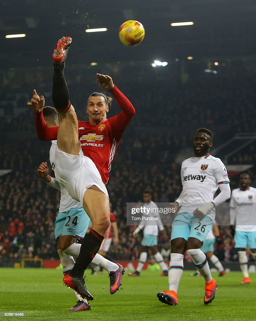 Zlatan Ibrahimovic of Manchester United in action during the EFL Cup Quarter-Final match between Manchester United and West Ham United at Old Trafford on November 30, 2016 in Manchester, England.
