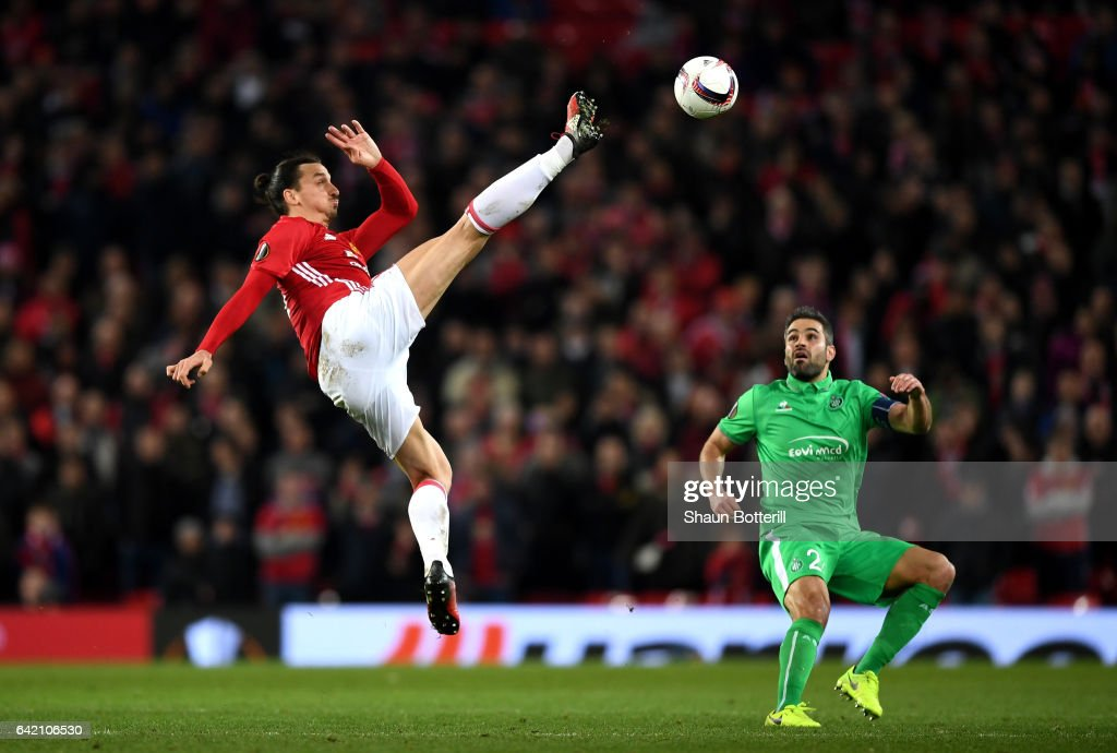 Zlatan Ibrahimovic of Manchester United in action during the UEFA Europa League Round of 32 first leg match between Manchester United and AS Saint-Etienne at Old Trafford on February 16, 2017 in Manchester, United Kingdom.