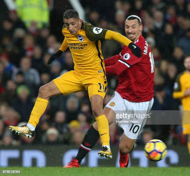 Zlatan Ibrahimovic of Manchester United in action with Anthony Knockaert of Brighton and Hove Albion during the Premier League match between...