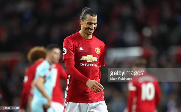 Zlatan Ibrahimovic of Manchester United is dejected after the final whistle during the Premier League match between Manchester United and Burnley at...