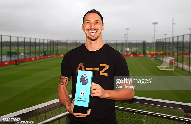 Zlatan Ibrahimovic of Manchester United is presented with the EA Premier League Player of the Month Award at Aon Training Complex on January 12 2017...