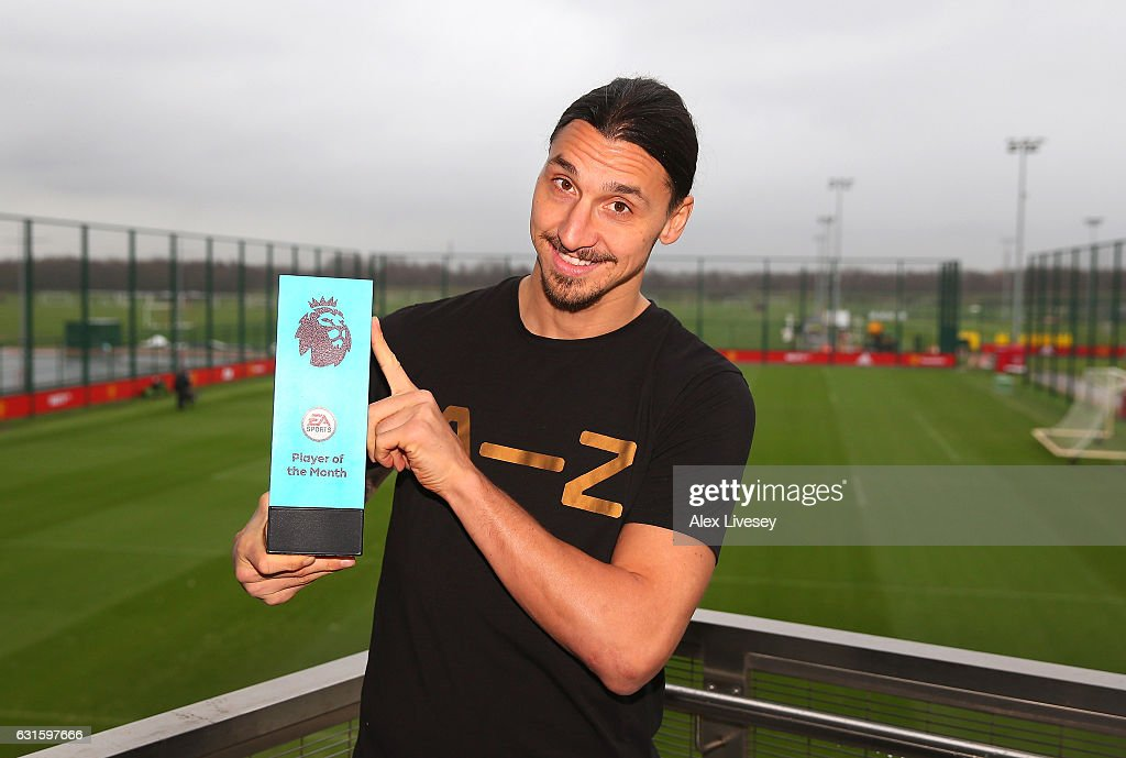 Premier League Player and Goal of the Month Awards are Presented to Zlatan Ibrahimovic and Henrikh Mkhitaryan : News Photo