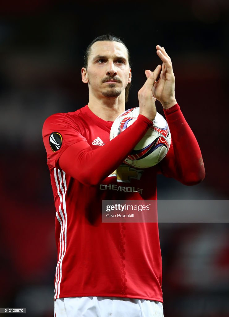Zlatan Ibrahimovic of Manchester United leaves the pitch with the match ball after scoring a hat-trick during the UEFA Europa League Round of 32 first leg match between Manchester United and AS Saint-Etienne at Old Trafford on February 16, 2017 in Manchester, United Kingdom.