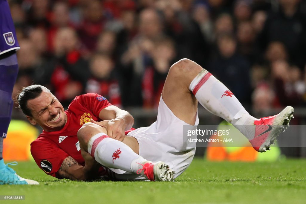 Zlatan Ibrahimovic of Manchester United lies injured during the UEFA Europa League quarter final second leg match between Manchester United and RSC Anderlecht at Old Trafford on March 20, 2017 in Manchester, United Kingdom.