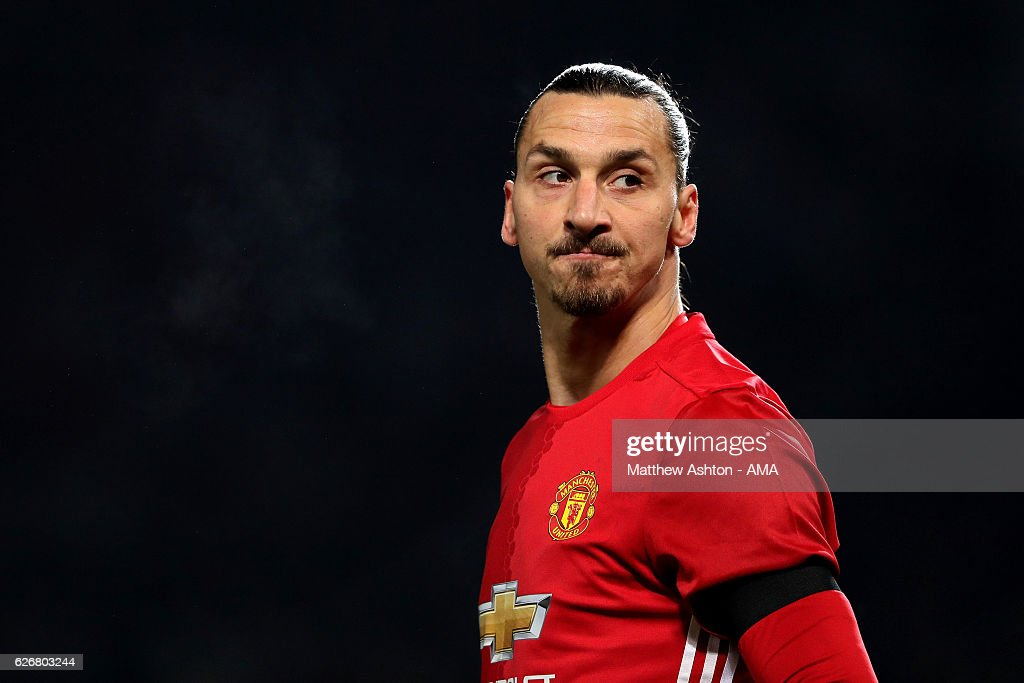 Zlatan Ibrahimovic of Manchester United looks on during the EFL Cup Quarter-Final match between Manchester United and West Ham United at Old Trafford on November 30, 2016 in Manchester, England.