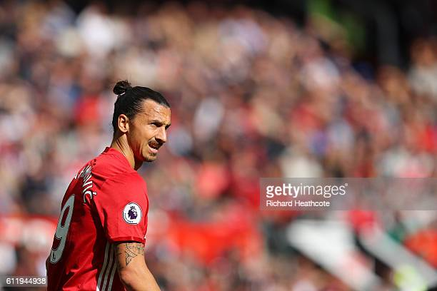 Zlatan Ibrahimovic of Manchester United looks on during the Premier League match between Manchester United and Stoke City at Old Trafford on October...
