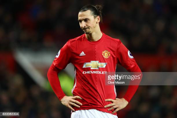 Zlatan Ibrahimovic of Manchester United looks on during the Premier League match between Manchester United and Hull City at Old Trafford on February...