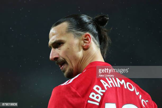 Zlatan Ibrahimovic of Manchester United looks on during the Premier League match between Manchester United and Brighton and Hove Albion at Old...