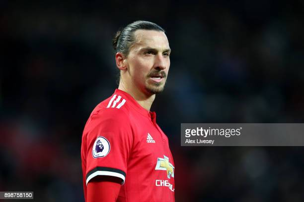 Zlatan Ibrahimovic of Manchester United looks on during the Premier League match between Manchester United and Burnley at Old Trafford on December...