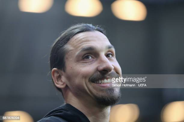 Zlatan Ibrahimovic of Manchester United looks on during the UEFA Europa League Final between Ajax and Manchester United at Friends Arena on May 24...