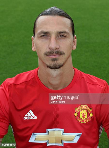 Zlatan Ibrahimovic of Manchester United poses for a portrait at the Manchester United Official Photocall on September 19 2016 in Manchester England