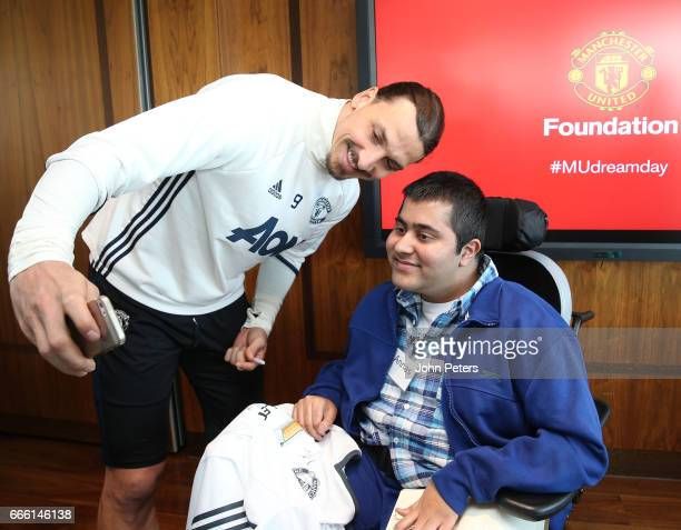 Zlatan Ibrahimovic of Manchester United poses with Annas from the Willow Foundation, at the MU Foundation's Dream Day, where sick children meet the...