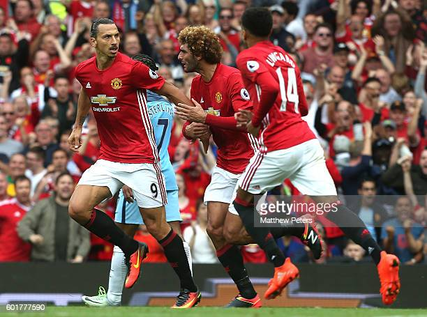 Zlatan Ibrahimovic of Manchester United reacts after scoring his team's first goal during the Premier League match between Manchester United and...