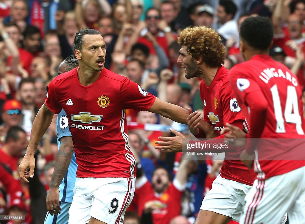 Zlatan Ibrahimovic of Manchester United reacts after scoring his team's first goal during the Premier League match between Manchester United and Manchester City at Old Trafford on September 10, 2016 in Manchester, England.