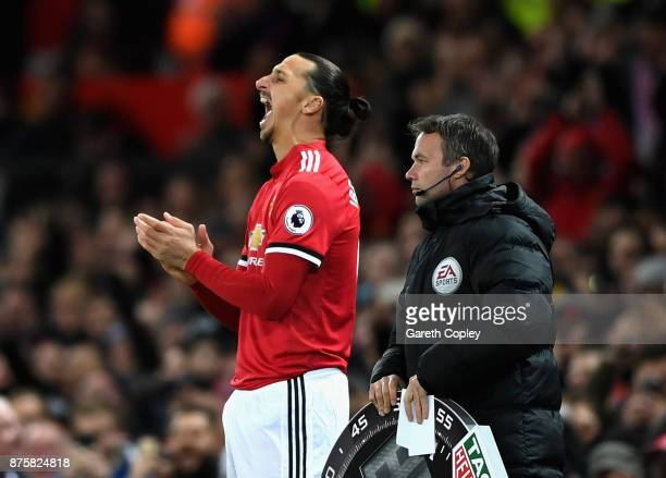 Zlatan Ibrahimovic of Manchester United reacts before being substituted during the Premier League match between Manchester United and Newcastle...