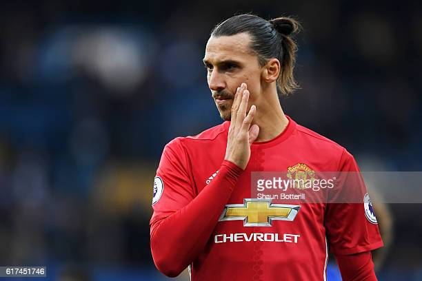 Zlatan Ibrahimovic of Manchester United reacts during the Premier League match between Chelsea and Manchester United at Stamford Bridge on October 23...
