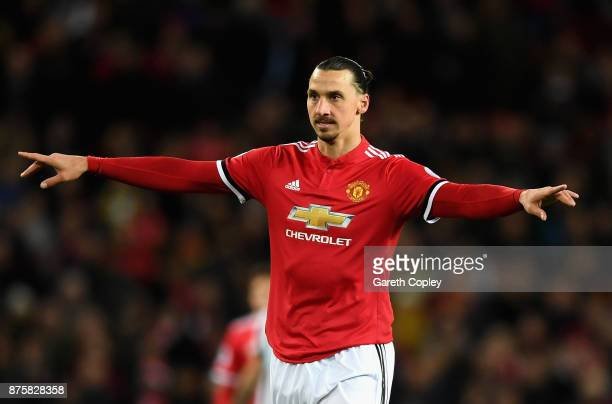 Zlatan Ibrahimovic of Manchester United reacts during the Premier League match between Manchester United and Newcastle United at Old Trafford on...