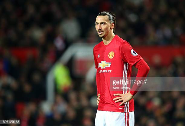 Zlatan Ibrahimovic of Manchester United reacts to the full time whistle during the Premier League match between Manchester United and West Ham United...