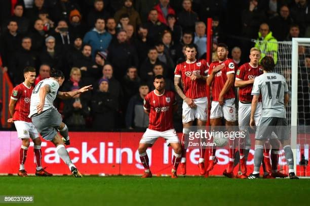 Zlatan Ibrahimovic of Manchester United scores his sides first goal during the Carabao Cup QuarterFinal match between Bristol City and Manchester...