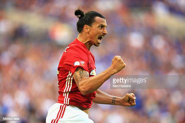 Zlatan Ibrahimovic of Manchester United scores his sides second goal during The FA Community Shield match between Leicester City and Manchester...
