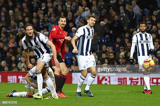 Zlatan Ibrahimovic of Manchester United scores his sides second goal during the Premier League match between West Bromwich Albion and Manchester...