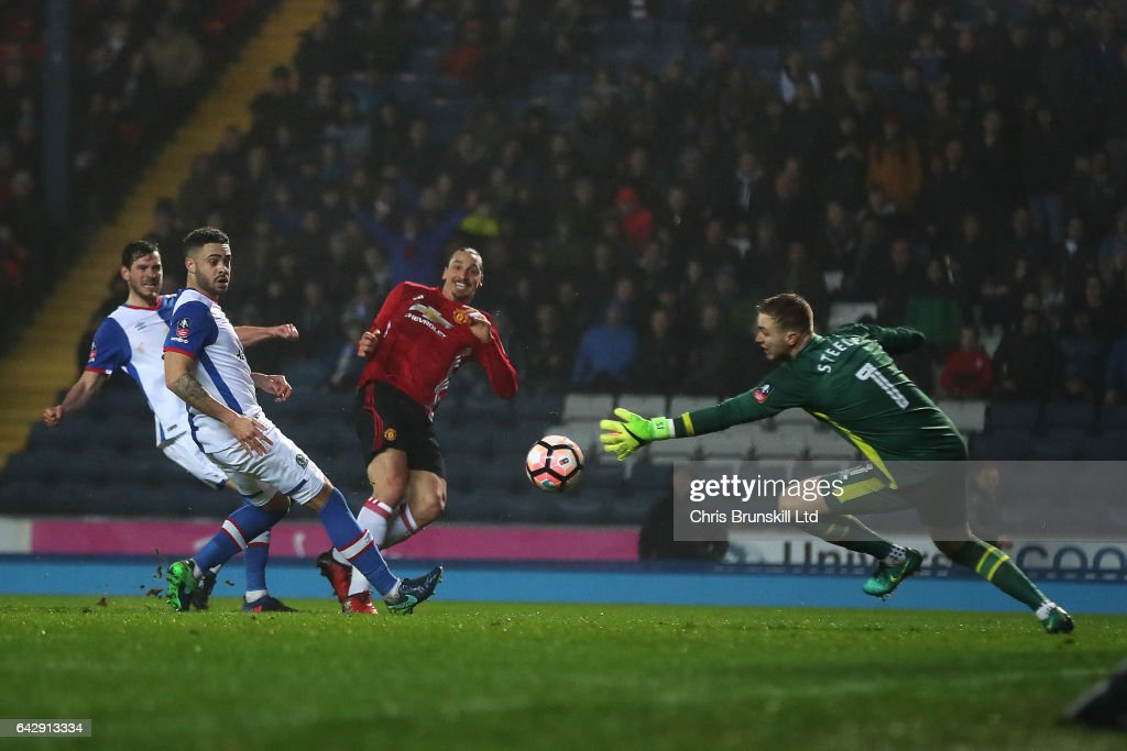Zlatan Ibrahimovic of Manchester United scores his side's second goal during the Emirates FA Cup Fifth Round match between Blackburn Rovers and Manchester United at Ewood Park on February 19, 2017 in Blackburn, England.