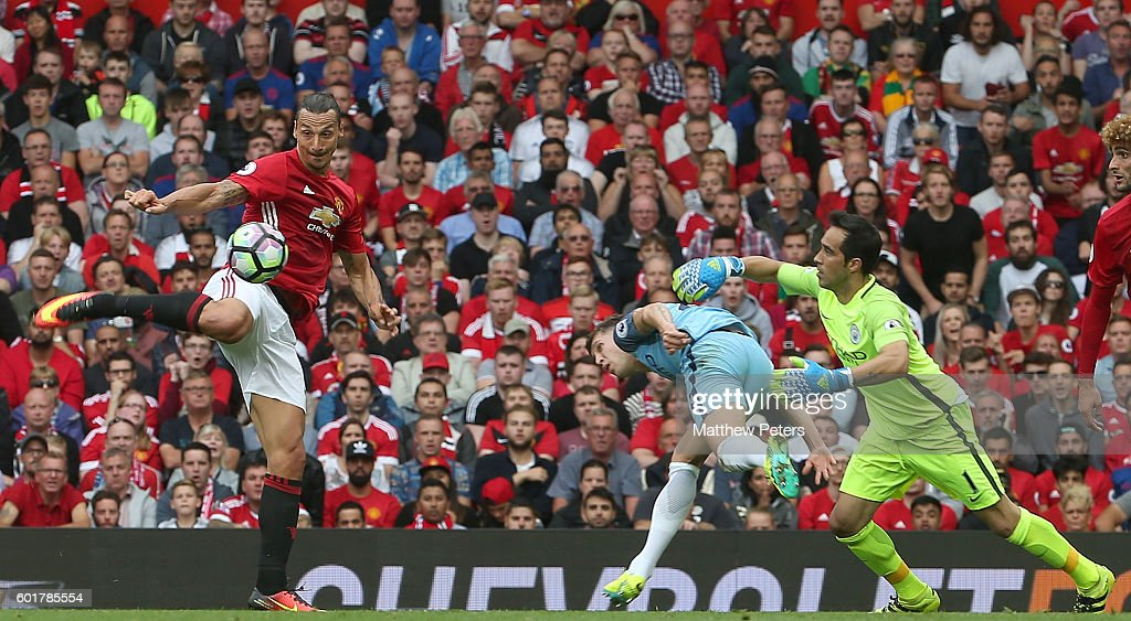 Zlatan Ibrahimovic of Manchester United scores his team's first goal during the Premier League match between Manchester United and Manchester City at Old Trafford on September 10, 2016 in Manchester, England.