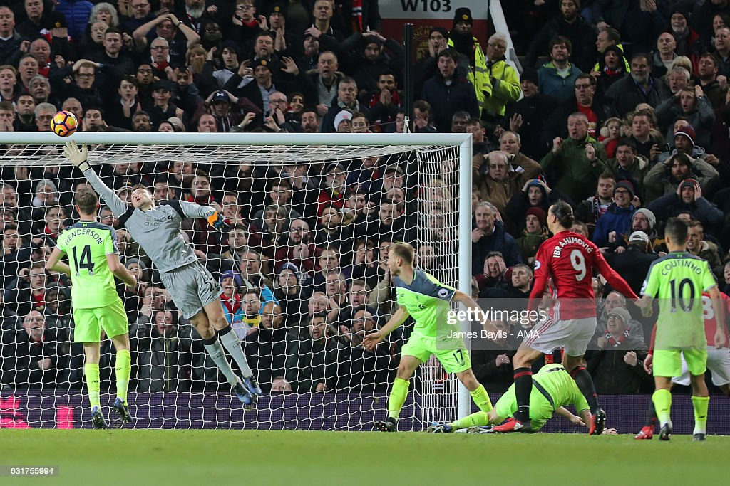 Zlatan Ibrahimovic of Manchester United scores his team's first goal to make the score 1-1 during the Premier League match between Manchester United and Liverpool at Old Trafford on January 15, 2017 in Manchester, England.