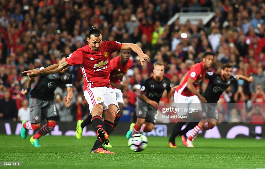 Zlatan Ibrahimovic of Manchester United scores his team's second goal from the penalty spot during the Premier League match between Manchester United and Southampton at Old Trafford on August 19, 2016 in Manchester, England.