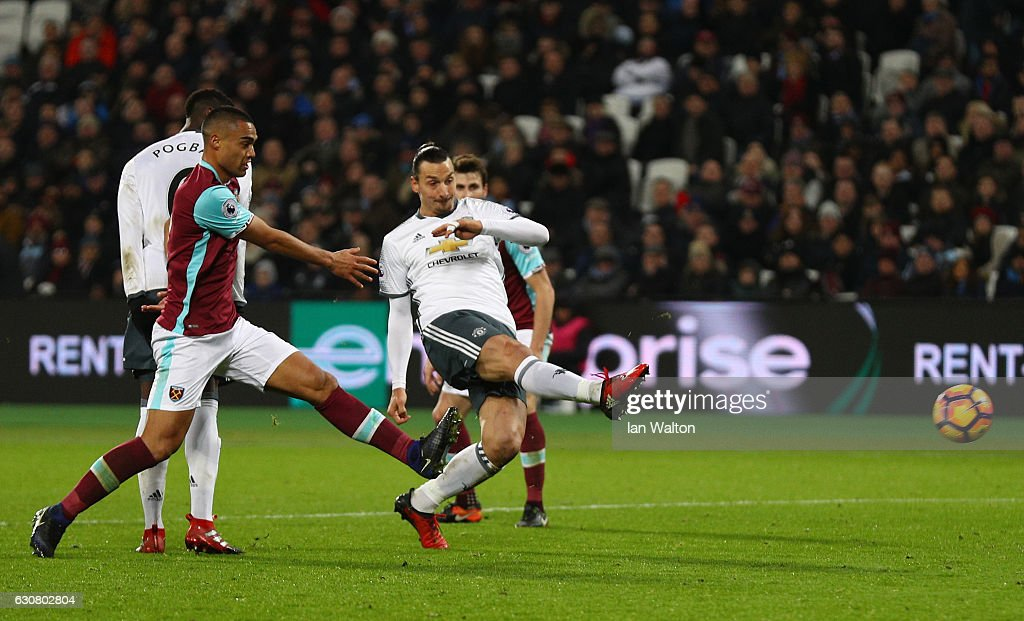 Zlatan Ibrahimovic of Manchester United scores his team's second goal during the Premier League match between West Ham United and Manchester United at London Stadium on January 2, 2017 in Stratford, England.
